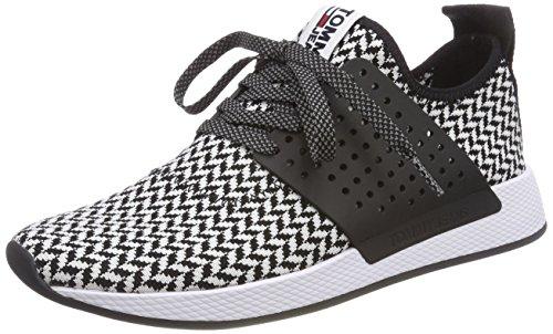 Hilfiger Denim Herren Tommy Jeans Check Knit Sneaker, Schwarz (White-Black 904), 44 EU