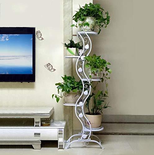 Schmiedeeisen-Blumenständer für Schlafzimmer, 5-lagiger Ständer für Topfpflanzen, Aufbewahrungshalterung für Blumentopf im Innen- und Außenbereich (Farbe: Weiß, Größe: Höhe 140 cm)