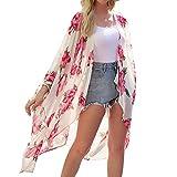 Kimono para Mujer - Cárdigan Largo Kimono, Floral Mujeres Kimono Dormir Bata Verano Satén Suave y Ligero (Albaricoque, L)