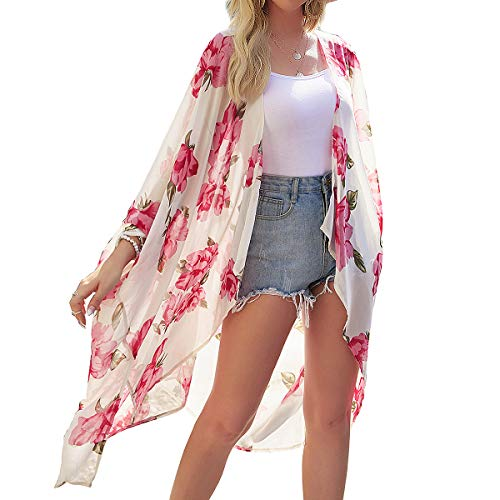Mujeres Kimono largo floral cárdigans – gasa larga playa bikini cubierta hasta arriba estampado boho cárdigan frente abierto suelto chal blusa verano para mujer Rosa albaricoque M