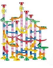 Wuudi Marble Run Circuit à billes 133 pièces Multicolore Briques de construction DIY avec éléments de chemin et billes de verre éducatif pour enfants (3 + ans)