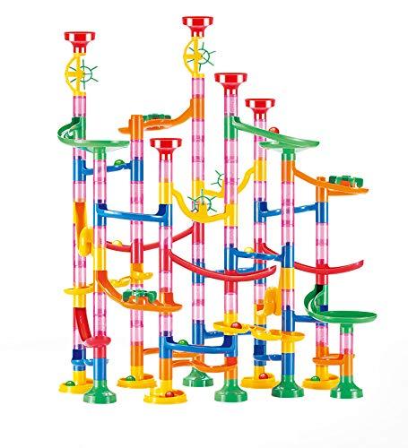 Wuudi Marble Run Kugelbahn,133pcs Mehrfarbige Konstruktionsbausteine DIY Bausteine mit Bahnelementen und Glasmurmeln pädagogisch für Kinder Spielzeug (3+ Jahre)