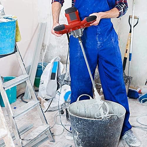 1500W Taladro Mezclador de Mortero Eléctrico,Batidor de Pintura y Cemento Portátil,con Una Varilla Mezcladora para Mezclar Concreto Barro,6 Velocidades Ajustables