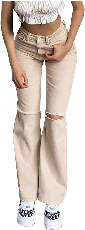 Larisalt Jeans for Women High Waist, Womens Flared Ripped Boyfriend Jeans Y2k Vintage Skinny Denim Pants