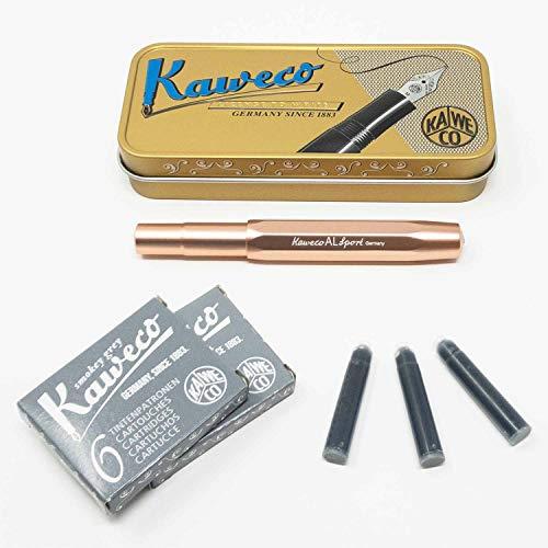 Kaweco Al Sport Füllhalter für Patronen aus Aluminium Roségold achteckig | Füllfederhalter mit Feder M | Kaweco Set mit Füller Patronen | 12 Patronen mit Kaweco Tinte in Grau GRATIS