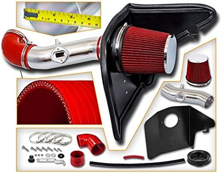 Same day shipping Cold Air Intake System with Heat Dallas Mall Shield + Combo Filter Kit C RED