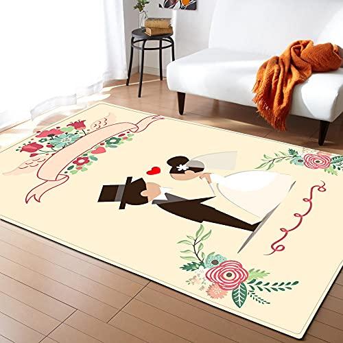 QWFDAQ alfombras Baratas Pareja romántica Beige alfombras 80 x 160 cm Alfombra...