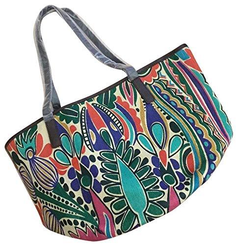 Neiman Marcus Tropical Print Rattan Tote Bag