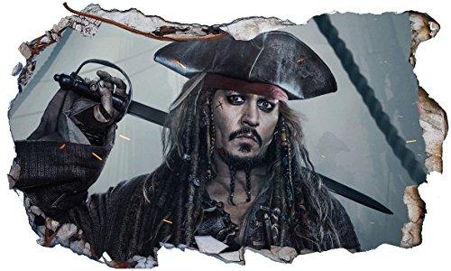 Chicbanners Wandaufkleber V006, Motiv: Fluch der Karibik, Captain Jack Sparrow,selbstklebend, Maße: 1000mm breit x 600mm hoch (Größe L)