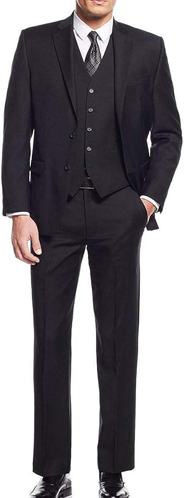 HOTK OFFicial shop Men's Suits Solid 3-Piece Notch Slim Business Recommendation Lap Fit