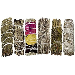 Smudge Kit with 6 Bundles - Smudging Kit Refill with Blue Sage Smudge Stick, Lavender Smudge Stick, Yerba Santa Smudge Stick, Cedar Smudge Stick, Flower Sage and White Sage Smudge Sticks for Cleansing
