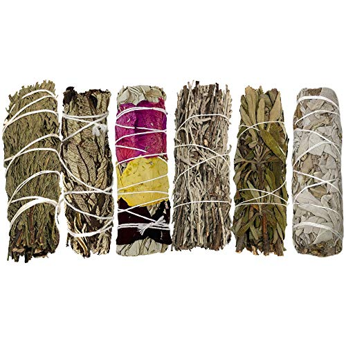 Smudge Kit - 6 Smudge Sticks Smudging Kit - Sage Kit Includes White Sage, Lavender Smudge Stick, Blue Sage, Yerba Santa, Cedar Smudge Stick, Rose Petal Sage - White Sage Smudge Sticks For Cleansing