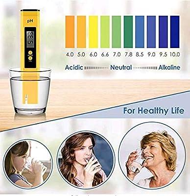 PH Meter Digital Water Quality Tester, ATC 0-26 pH Measurement Range, Pocket Size (Household Drinking Water, Hydroponics, Aquariums, Swimming Pools) (Yellow)