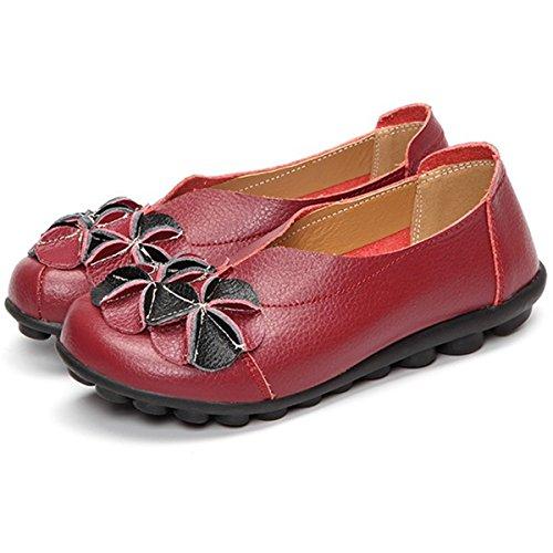 gracosy Mocasines para Mujer Primavera/Verano Vintage Flores Hechas a Mano Zapatos de Cuero Estilo Mocasines Cómodo Slip On Shoes Alpargatas Zapatos de Conducción Zapatos para Caminar Size 43