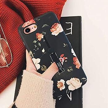 iPhone 8 Case iPhone 7 Case iPhone SE 2020 Case Finger Grip,3D Print Flowers Design Rugged Shockproof Slim Fit Dual Layer Finger Ring Loop Strap Case Finger Strap for iPhone 7/8/SE 2020 - Red Flowers