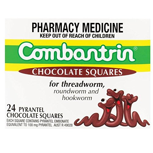 Combantrin Chocolate Squares 24 for Children and Adults Pinworm Threadworm