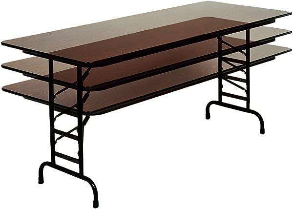 Correll CFA3072M 01 Melamine Adjustable Height Top Folding Table Rectangular 30 Width X 72 Length X 22 To 32 Height Walnut