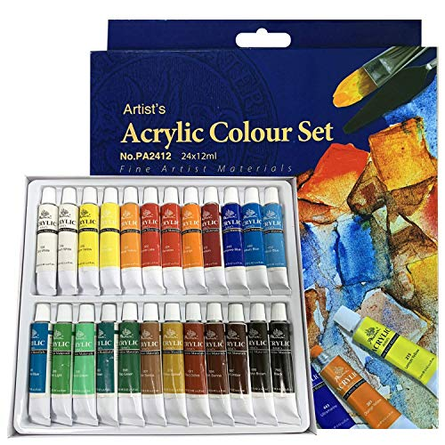 PHOENIX Acrylic Color Paint Set of 24 Tubes x 12 ml - Non-Toxic Paints for Kids, Students, Beginners & Artists