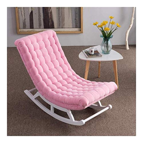 HLZY Home Furniture Meditation Chair Comfortable Rocking Chair Single Linen Rocking Chair, Solid Wood Sofa Pedal and Pillow Recliner Bedroom Garden Relax Furniture (Color : Pink)