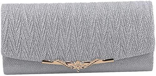 XIAOGING Damen-Clutch Sparkly Frosted Abendtasche Herrliche Mini kleine Handtasche Umhängetasche Schultertasche Brauthochzeits-Handballtasche, Silber (Color : Silver)