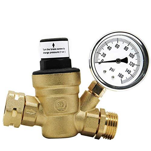 HGFHGD Messing Wasserdruckregelventil Wasserdruckregler mit Messgerät und Ansaugfilter
