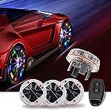 AUTOMONARCH LED Car Tire Wheel Light Lamp, 4pcs Solar Energy RF Remote Control RGB Flashing Decorative...