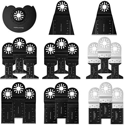 Kohree 21 tlg Oszillierendes Zubehör Set Mix Multitool Sägeblätter Multifunktionswerkzeug Geeignet für Fein Multimaster Dremel Makita Einhell