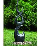 Dehner Gartenbrunnen Tribe mit LED Beleuchtung, ca. 150.5 x 39 x 26 cm, Polyresin, grau