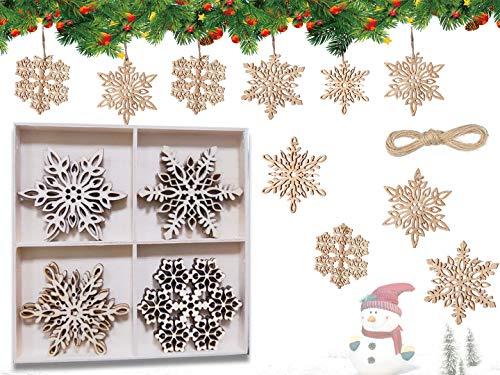 HIQE-FL 12Pezzi Ornamenti in Legno,Albero di Natale Ornamenti Legno,Natale Appeso Ornamenti Decorazione,Decorazioni Natalizie Fette di Legno per Decorare L'Albero di Natale