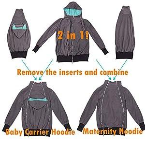 Monochef Women's Fleece Zip Up Maternity Baby Wearing Carrier Hoodie Sweatshirt Jacket(M)