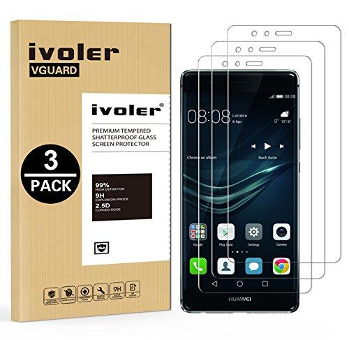 iVoler [3 Pack] Pellicola Vetro Temperato per Huawei P9, Pellicola Protettiva, Protezione per Schermo