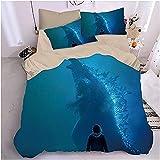 H-LIFE Godzilla - Ropa de cama 3D (funda nórdica de 135 x 200 cm con cremallera y funda de almohada de 80 x 80 cm de microfibra (Godzilla-03,200 x 220 cm + 80 x 80 cm x 2)