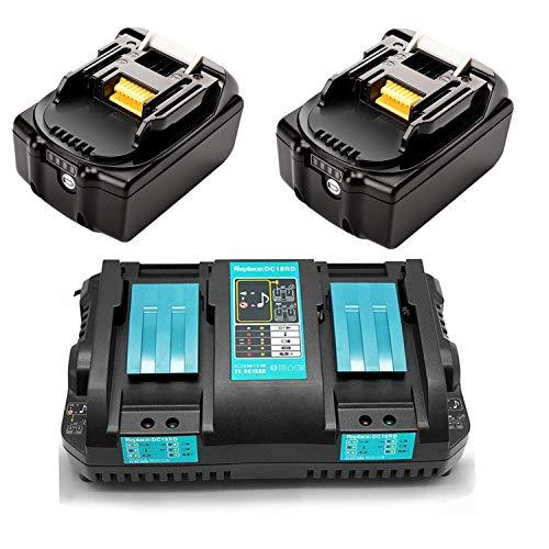 Ersatz Doppel Schnellladegerät 4A mit 2x 18V 4Ah Li-Ionen akku für Makita 18Volt Kettensäge DUC353Z Gebläse DUB362Z DUB361Z Rasenmäher DLM380Z DLM431Z Staubsauger DCL180Z Winkelschleifer DGA511Z Akku