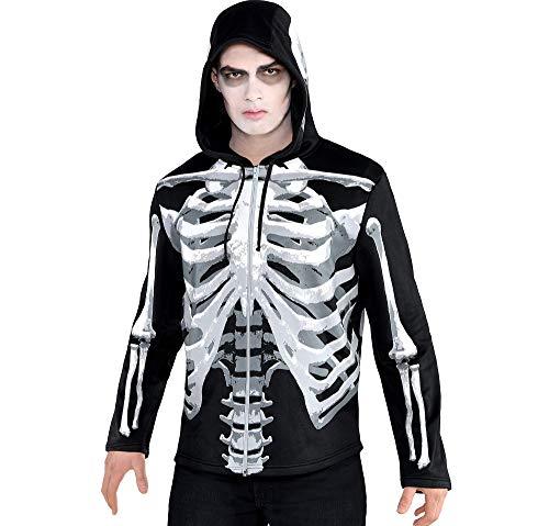 Amscan International Herren Kapuzenpullover, Schwarz mit Skelett-Aufdruck