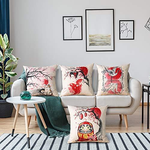 Artscope 4er-Set Dekorativ Kissenbezug 45 x 45 cm, Baumwolle Leinen Kissenbezüge Dekokissen Kissenhülle Set Kissen Fall für Sofa Auto Schlafzimmer Zuhause Dekor (Japanischer Stil B)