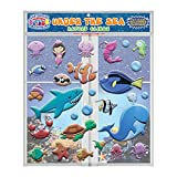 Under The Sea Ocean by Incredible Gel and Glass Window Clings for Kids and Toddlers - Foam Puffy Stickers - Underwater, Turtle, Mermaid, Shark, Whale - Home, Airplane, Classroom, Nursery Decoration