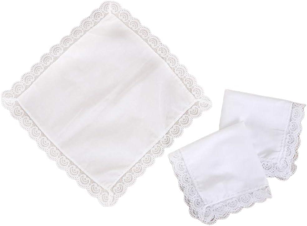 GUSENG 25x25cm Women Plain White Square Handkerchiefs Crochet Peach Heart Scalloped Lace Trim Bridal Wedding DIY Cotton Napkin Hankies