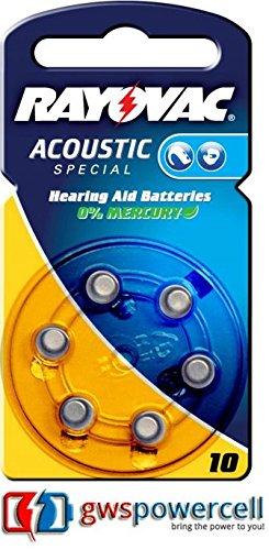 Rayovac Acoustic Special Hörgeräte Batterien 1,4V 105mAh PR70 Typ 10 - 6er Blister (Nr. 10 Acoustic Special 6er Blister, 1x)