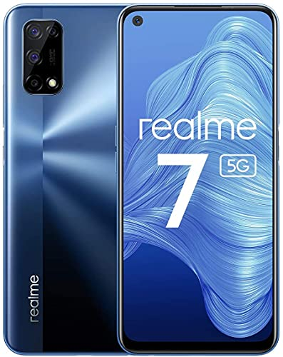 Realme 7 5G-Smartphone 6.5', Dimensione 800U, 6 GB + 128 GB, Display ultra liscio da 120 HZ, carica da 30 W, batteria da 5000 mAh, fotocamera quadrupla da 48 MP, Dolby Atmos e Hi-Res (Baltic Blue)