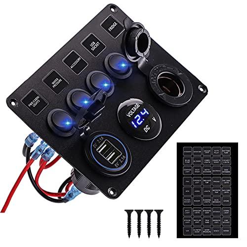 Panel de control con interruptor de 5 bandas, resistente al agua con voltímetro digital 4.2 A cargador USB dual encendedor de cigarrillos, enchufe de 12 V/24 V para coche, barco