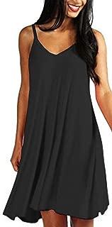 MUTOTO Womens Adjustable Spaghetti Straps V Neck Plain Casual Summer Beach Sundress Swing Mini Dress