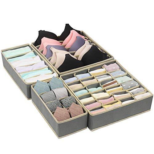 Qisiewell Aufbewahrungsbox für Unterwäsche und Socken Organizer Grau Schrank Organizerboxen 4er Faltbox Schublade Organizer für Socken und Krawatten Dessous und Kleine Zubehörteile
