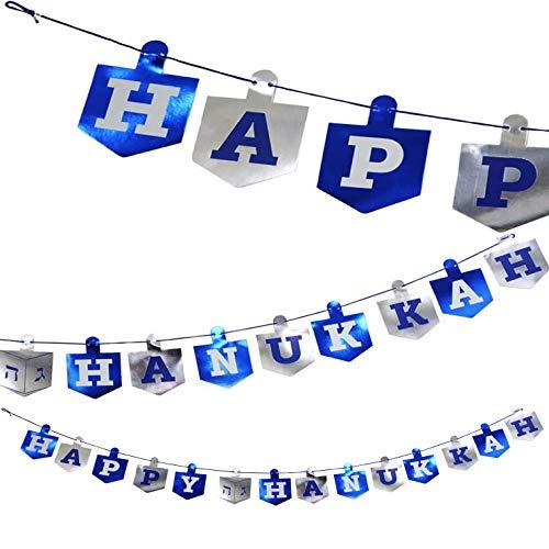 Happy Hanukkah Banner Chanukah Decorations, Dreidel Hanukkah Banner - 5 Feet in Length