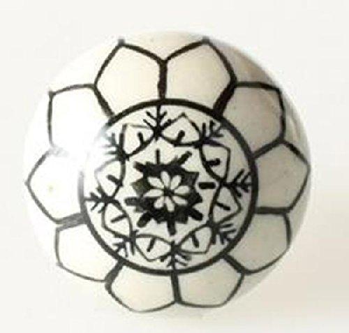i.stHOME Möbelknopf Blüte - Knauf Creme weiß schwarz - Porzellan