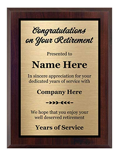 Customized Retirement Plaque 8x10, Personalized Gift for Co-Worker, Award for Women and Men....