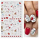 Heart Love Nail Stickers for Women Nail Decals 3D Design Nail Decoration Self-Adhesive Tip Art Tattoo DIY 6 Sheets Colorful Love Arrow/ Rose Flower/ Dounts /Red Lip Print /Sweet Heart/ Love Letter Design