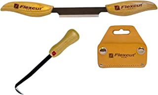 Flexcut KN17 & KN25 Draw Knife Wood-Carving Set, 1 Long with Leather Sheath and 1 Mini Draw Knife Chisel Set. Made in The USA