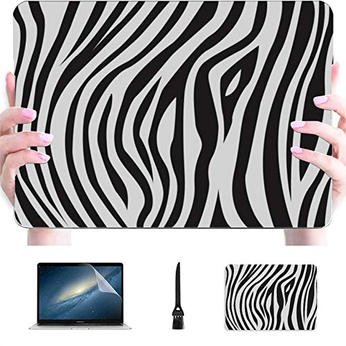 MacBook Laptop Cover Zebra Stripe Zebra Animal Skin Plastic Hard Shell Compatible Mac MacBook Pro Computer Case Protection Accessories for MacBook with Mouse Pad