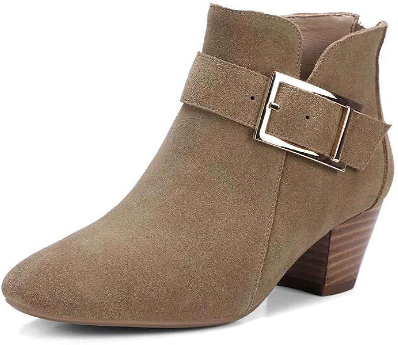 Stiefel Xiaolin Damen Casual Schnalle Schuhe Martain Wildleder Stiefeletten hochhackige (Farbe   B, gre   US6 EU36 UK4 CN36)