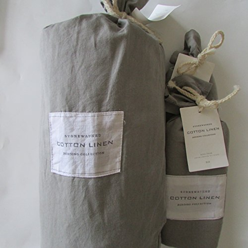 Restoration Hardware STONEWASHED COTTON LINEN King Duvet Cover & King Shams~Fog~
